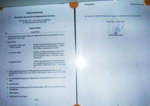 Bekanntmachung zur Tagesordnung Gemeinderatssitzung am 02.04.19