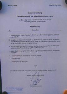 Dokumentenfoto - Tagesordnung an der Amtstafel
