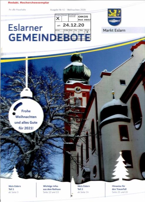 """Cover """"Eslarner Gemeindebote"""" 2020"""