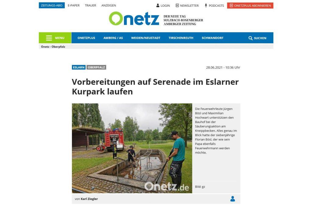 Bericht in der Regionalpresse - onetz.de vom 28.06.2021